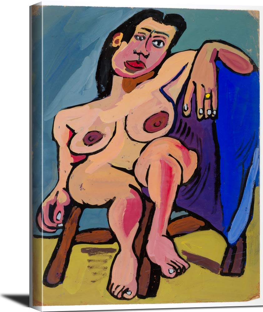 Seated Female Nude On Brown Chair William H Johnson