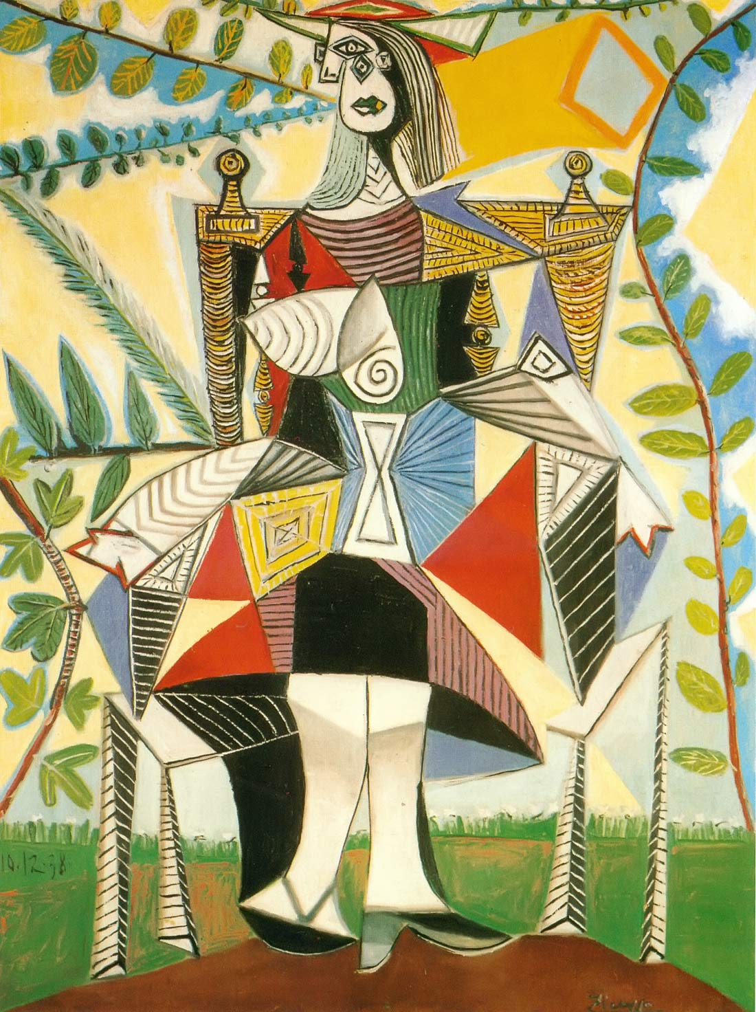 Woman Seated In A Garden Pablo Picasso