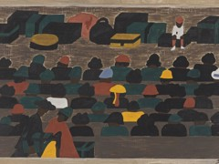 Migration Panel 32 The Railroad Stations In The South Were Crowded With People Leaving For The North by Jacob Lawrence