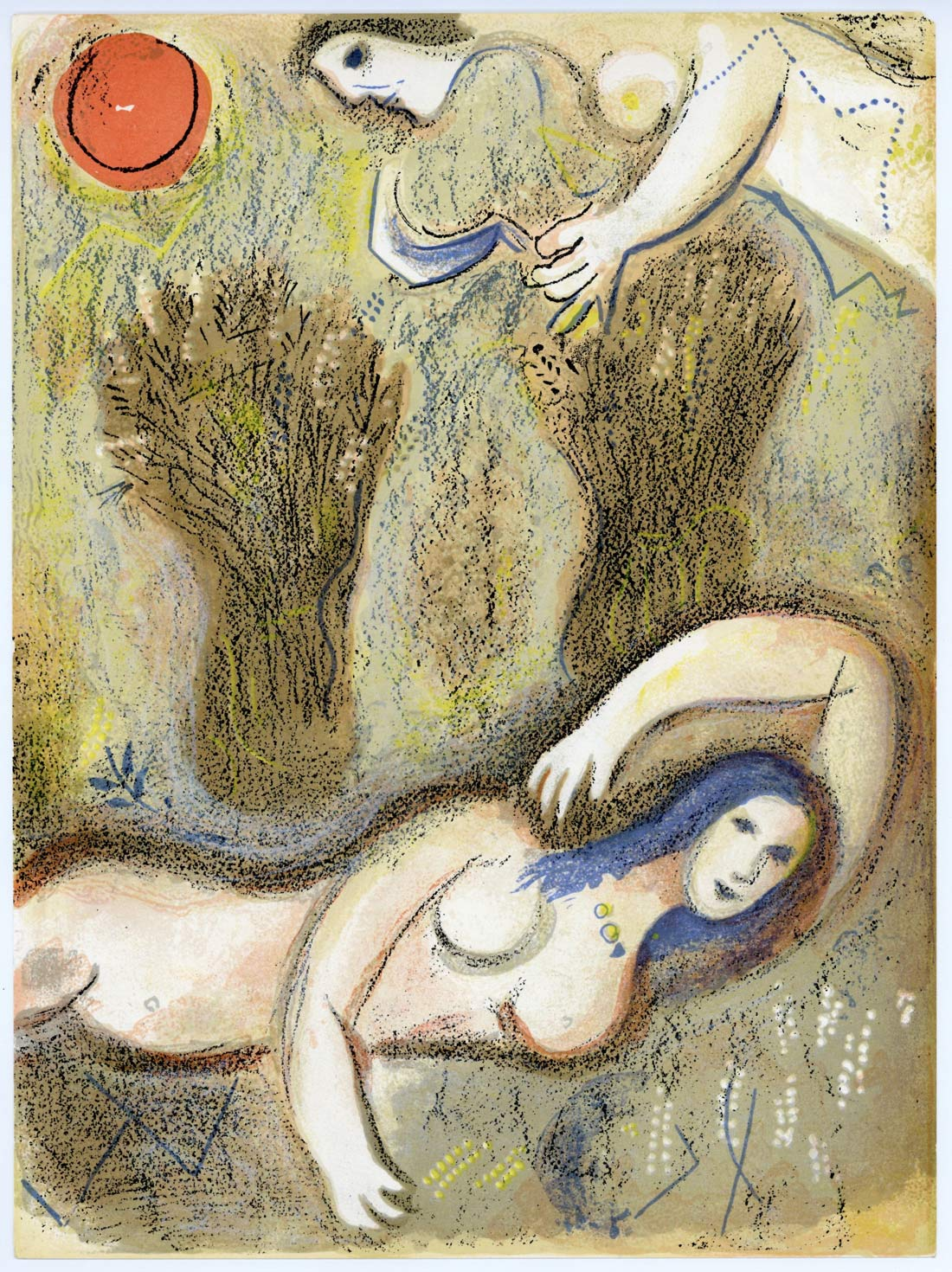 Boaz Wakes Up And Sees Ruth At His Feet Marc Chagall