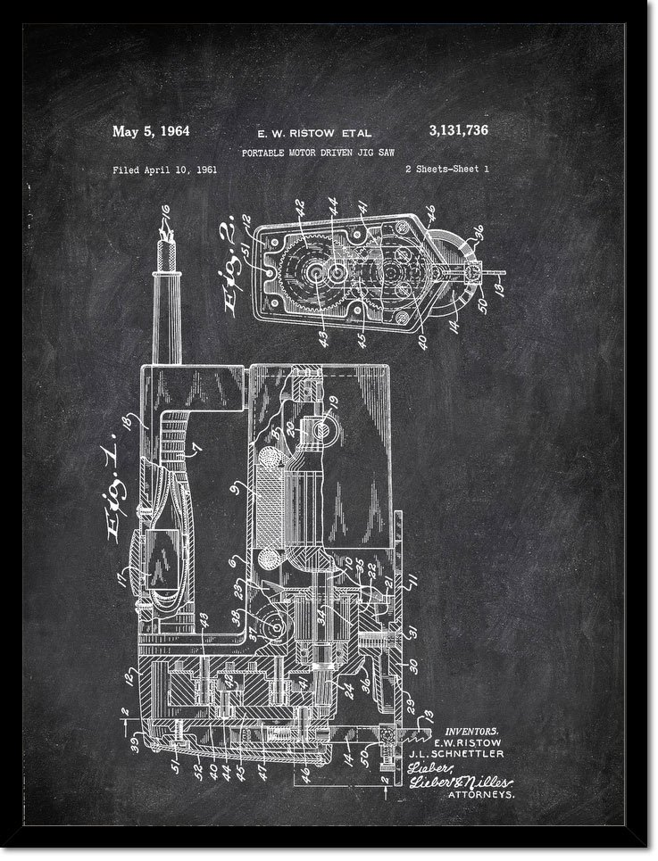 Portable Motor Driver Jig Saw E Wistow Etal 1961 Tools by Patent