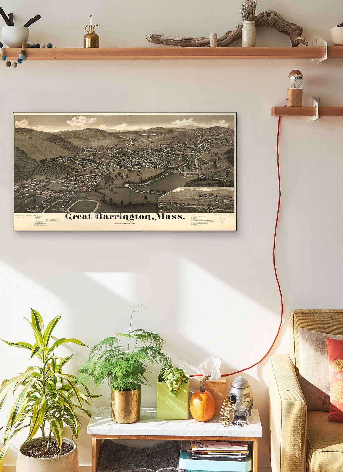 Great Barrington Mass LARGE Vintage Map