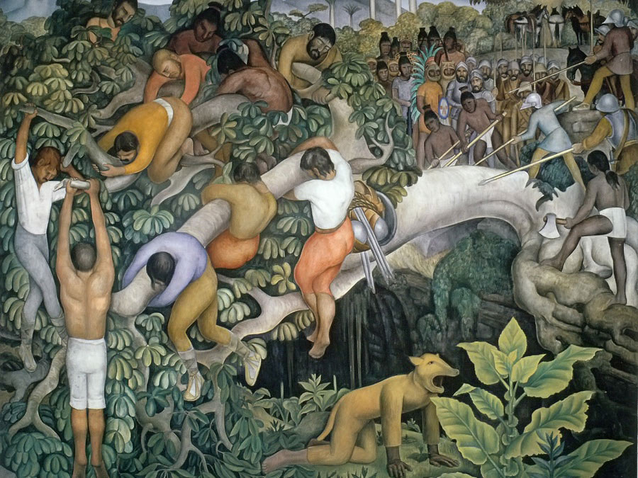 Crossing The Gorge by Diego Rivera