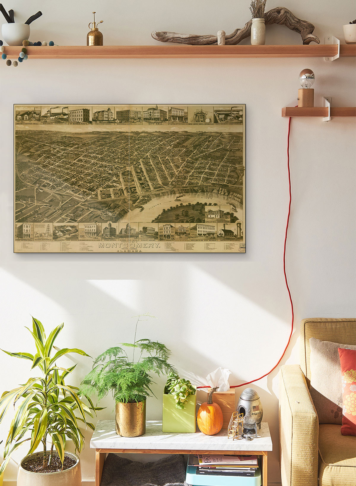 Perspective LARGE Vintage Map Of Montgomery State Capital Of Alabama LARGE Vintage Map