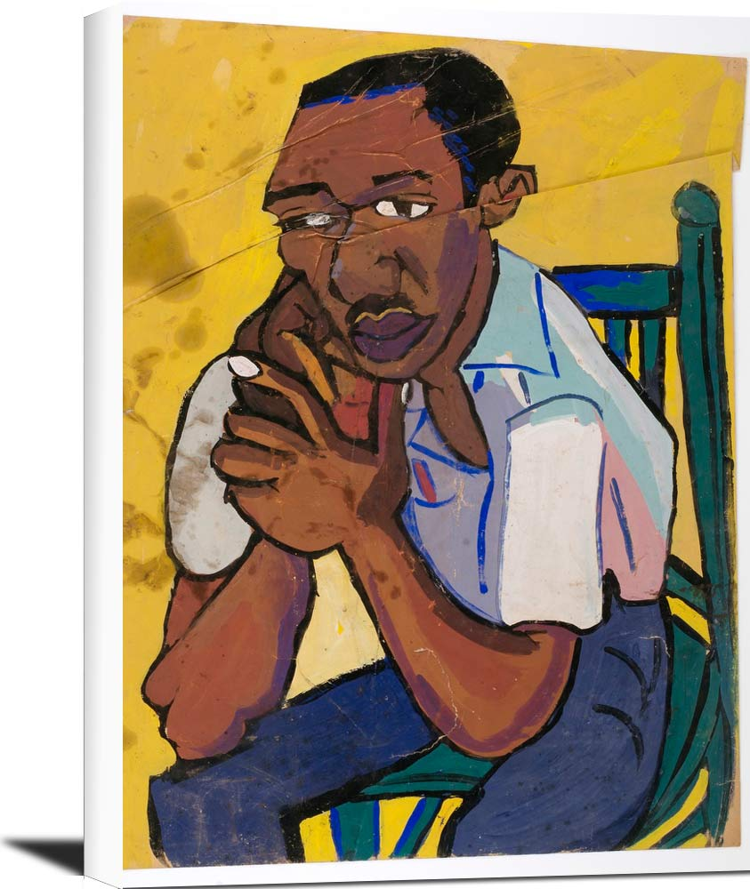 Seated Man In Green Chair William H Johnson