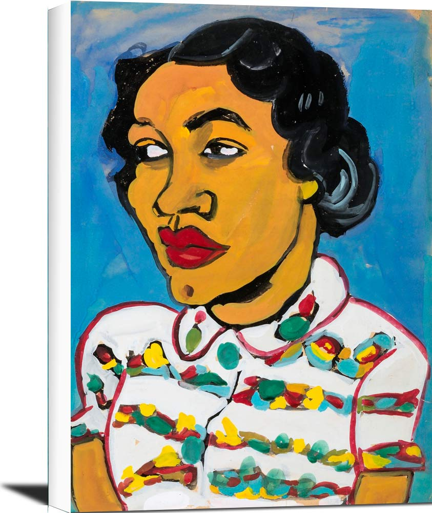 Bust Of A Woman In White Print Blouse William H Johnson