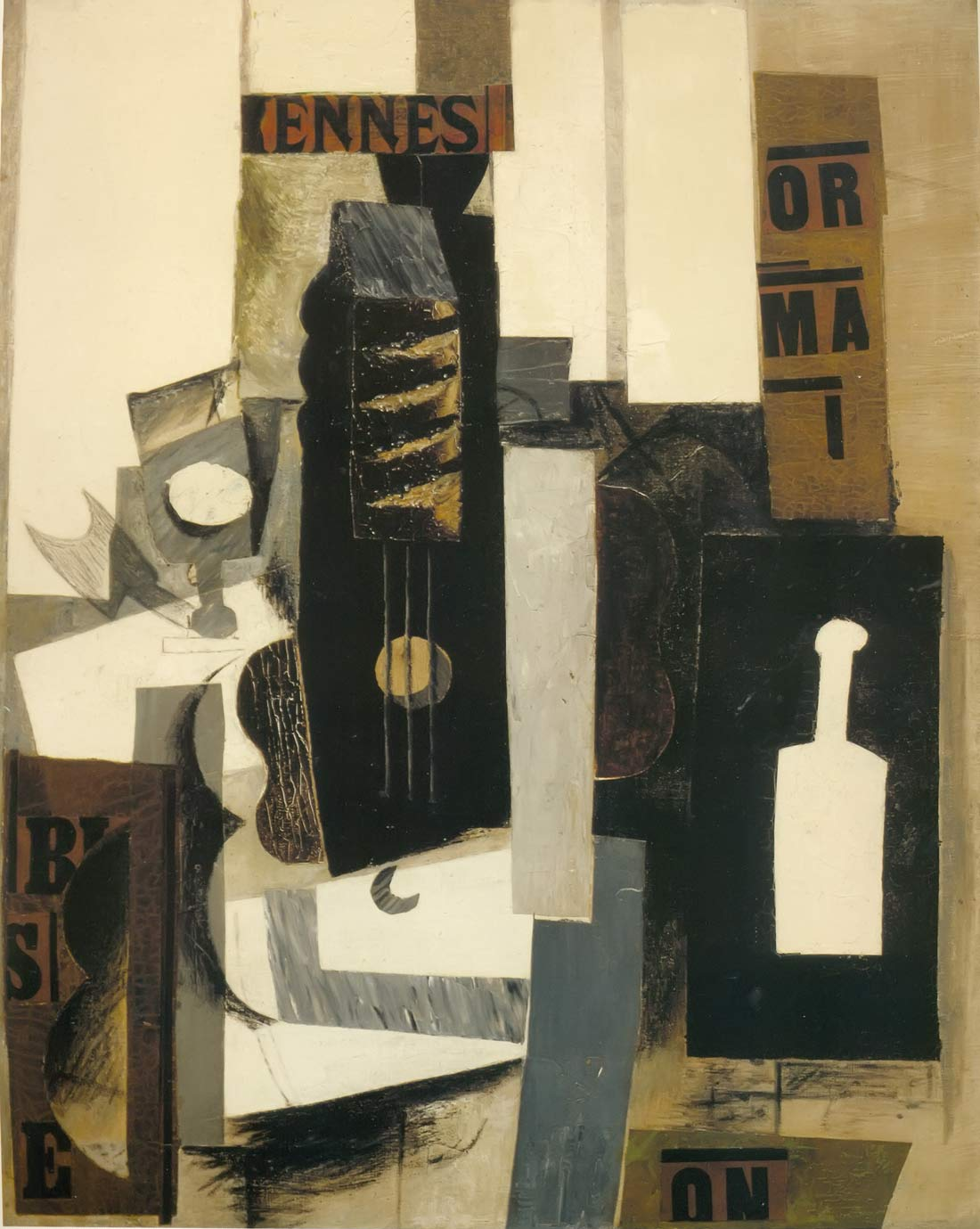 Glass Guitar And Bottle Pablo Picasso