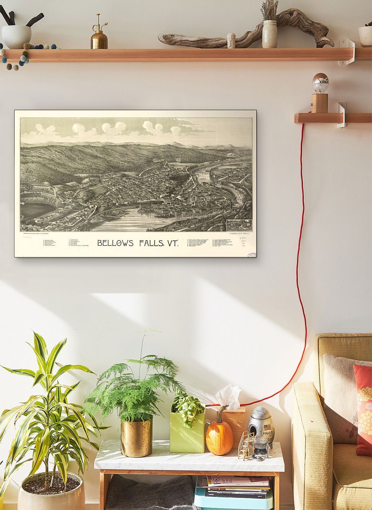 Bellows Falls Vt LARGE Vintage Map