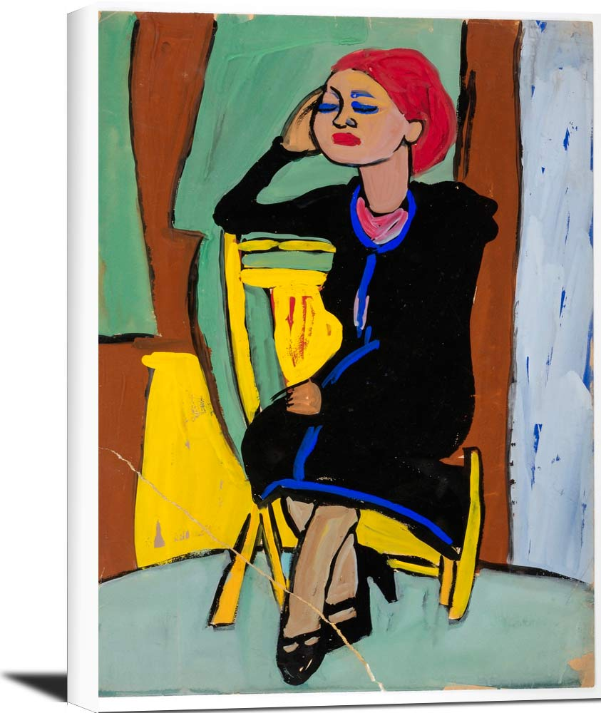 Seated Woman With Red Hair And Black Dress William H Johnson