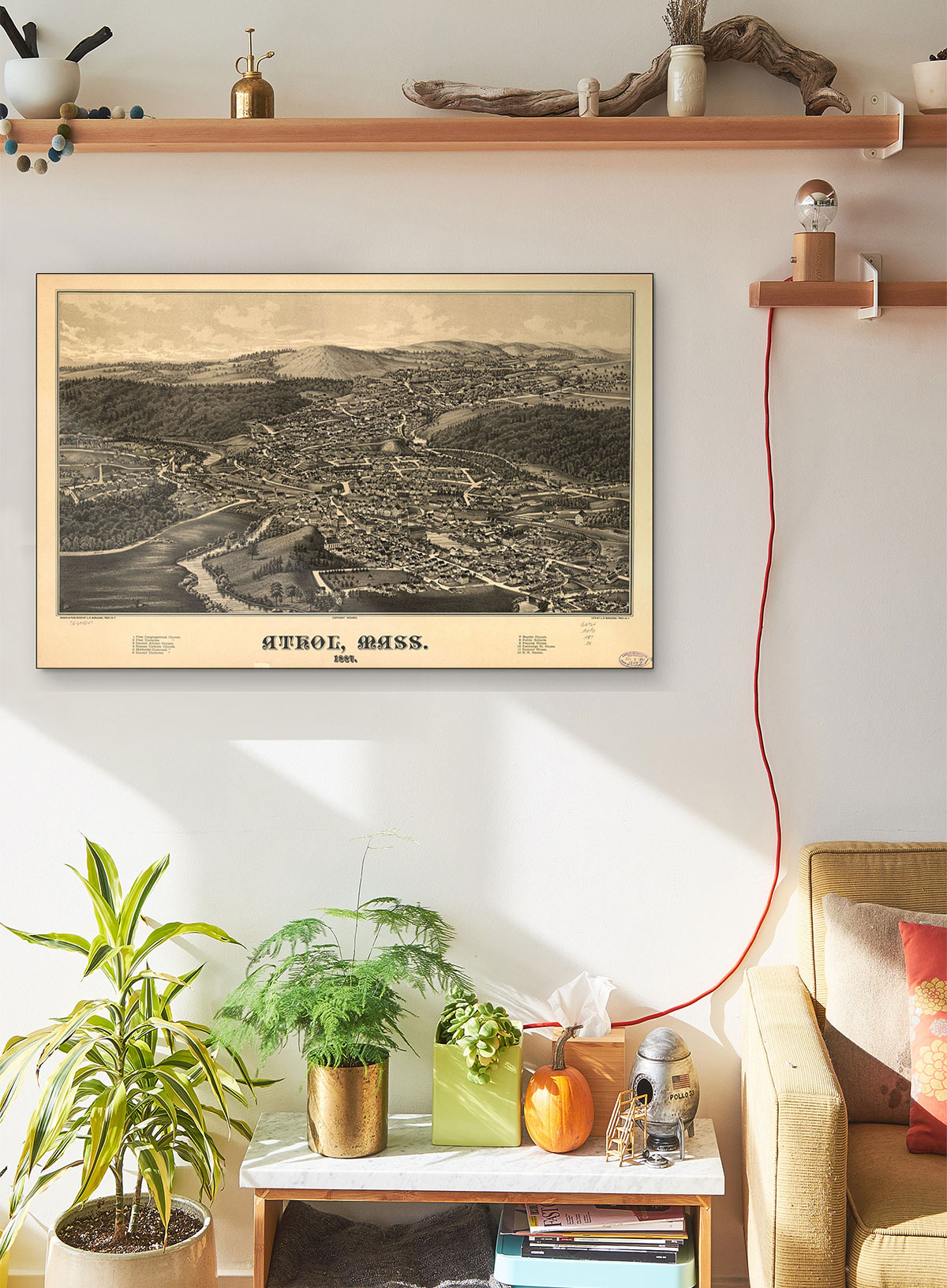 Athol Mass 1887 LARGE Vintage Map