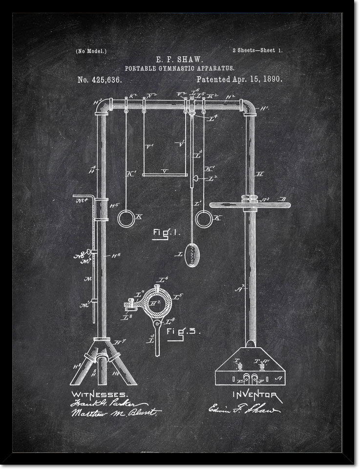 Portable Gymnastic Apparatus E F Shaw 1890 Activities by Patent