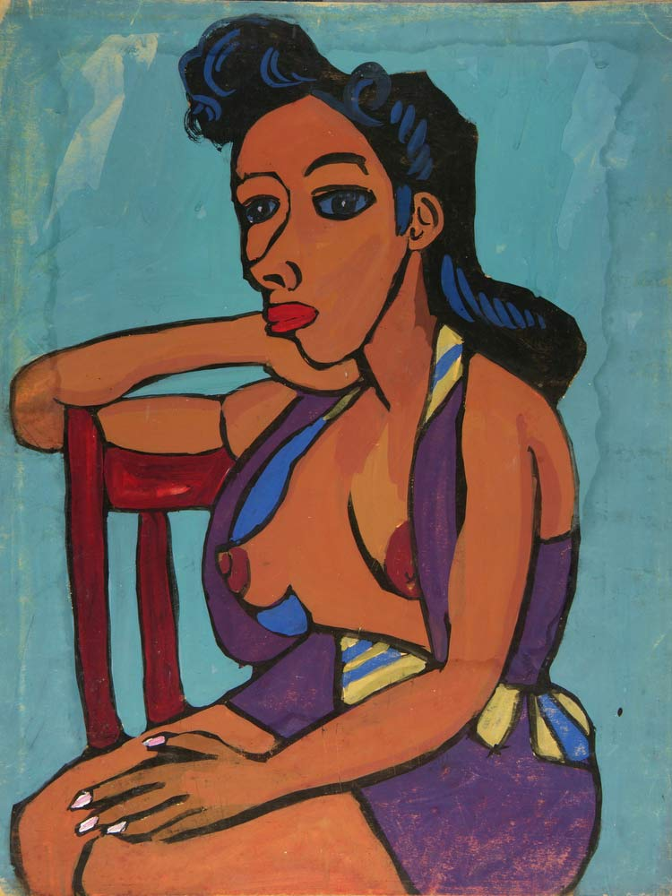 Seated Semi Nude Woman In Purple Playsuit William H Johnson