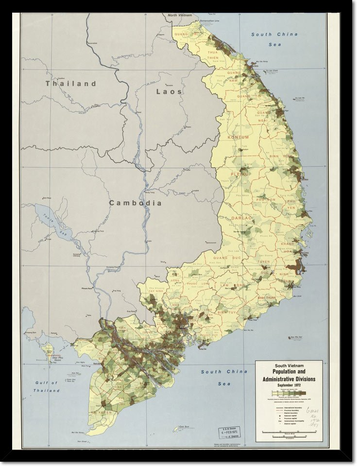 South Vietnam Population And Administrative Divisions, September 1972. 3 73 - Vintage Asia Maps
