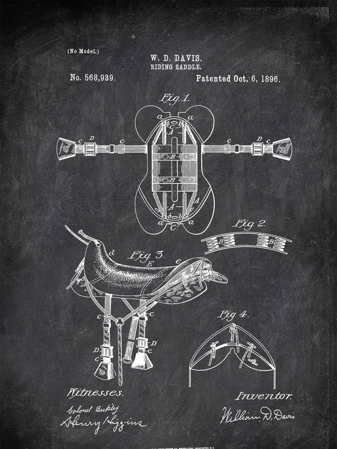 Riding Saddle W D Davis 1896 Activities by Patent