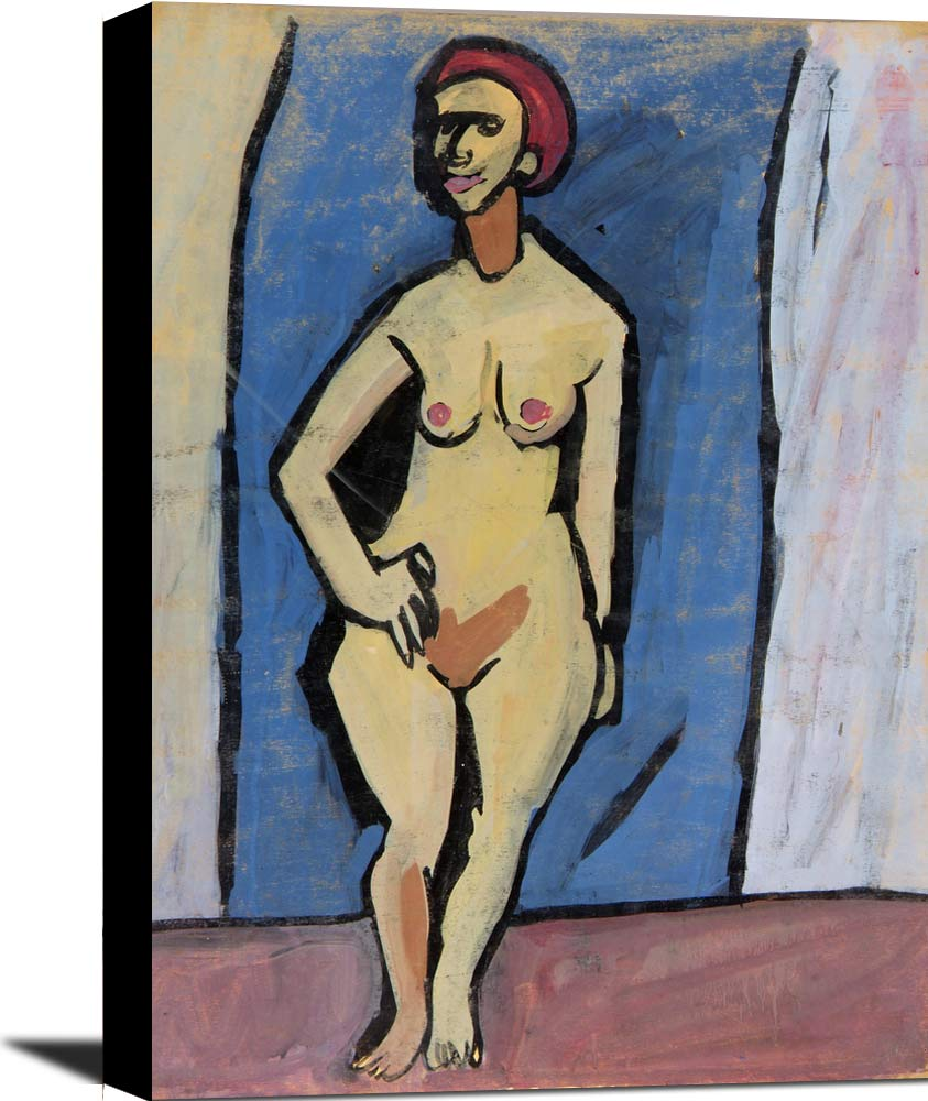 Standing Female Nude With Red Hair William H Johnson