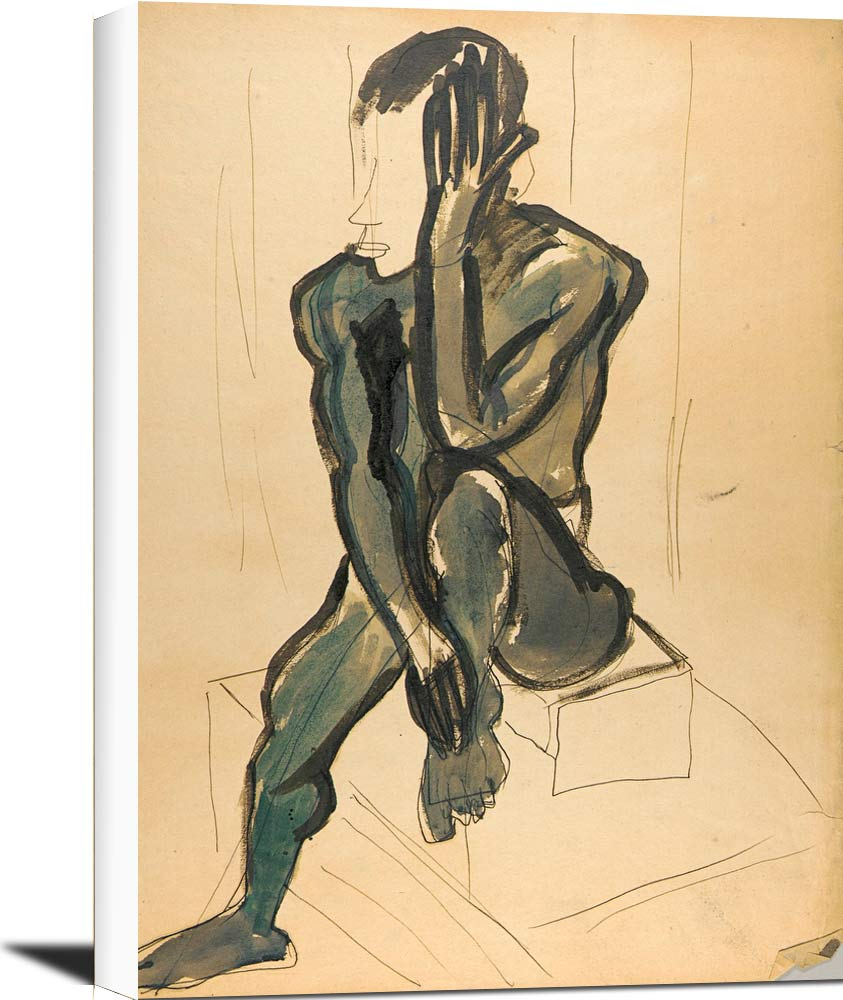 Seated Male Model With Raised Leg William H Johnson