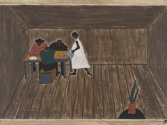 Migration Panel 30 In Every Home People Who Had Not Gone North Met And Tried To Decide If They Should Go North Or Not by Jacob Lawrence