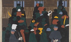 Migration Panel 12 The Railroad Stations Were At Times So Over Packed With People Leaving That Special Guards Had To Be Called In To Keep Order by Jacob Lawrence
