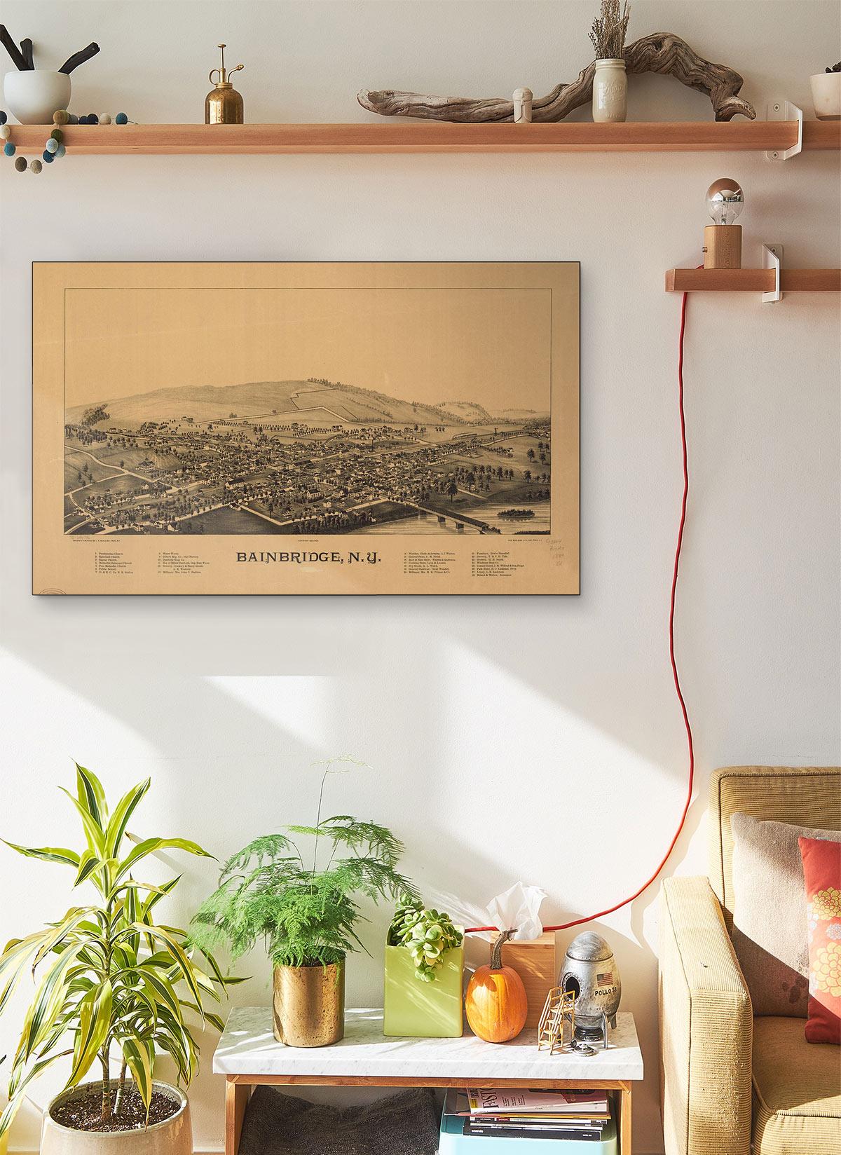 Bainbridge N.y LARGE Vintage Map