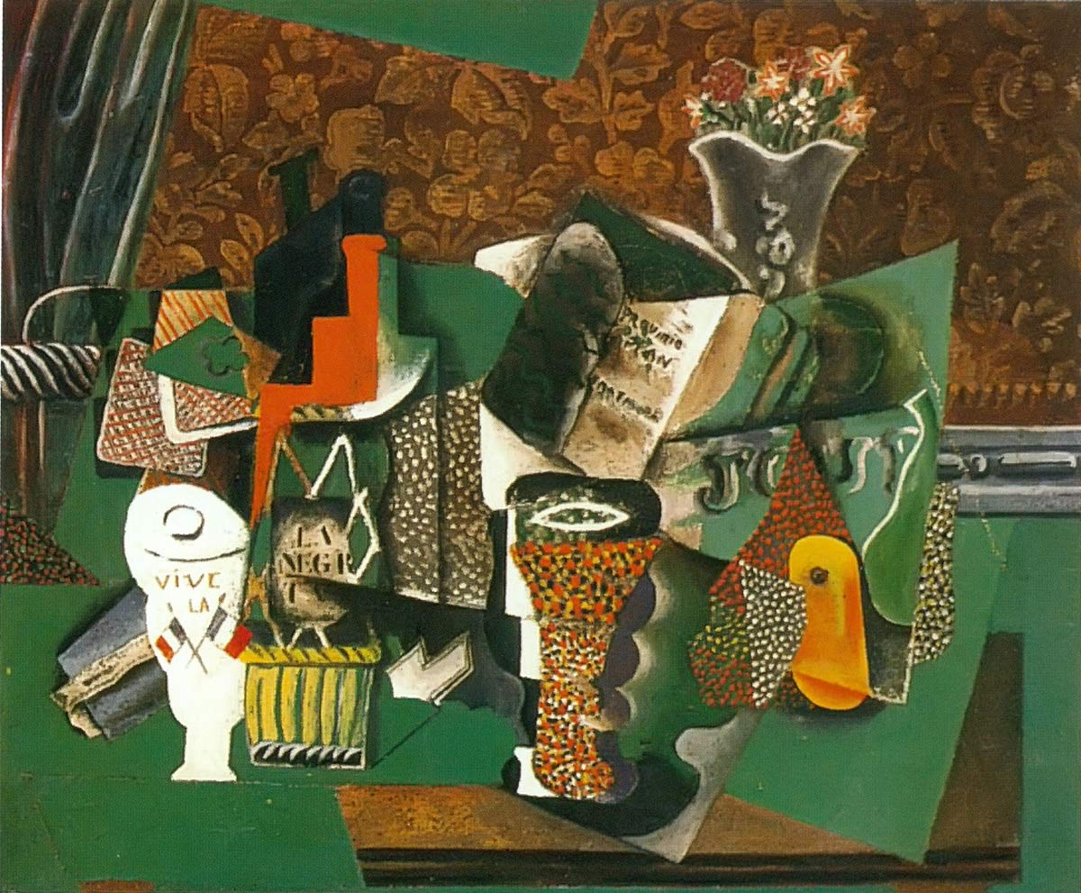 Playing Card Glasses And Bottle Of Rum Pablo Picasso