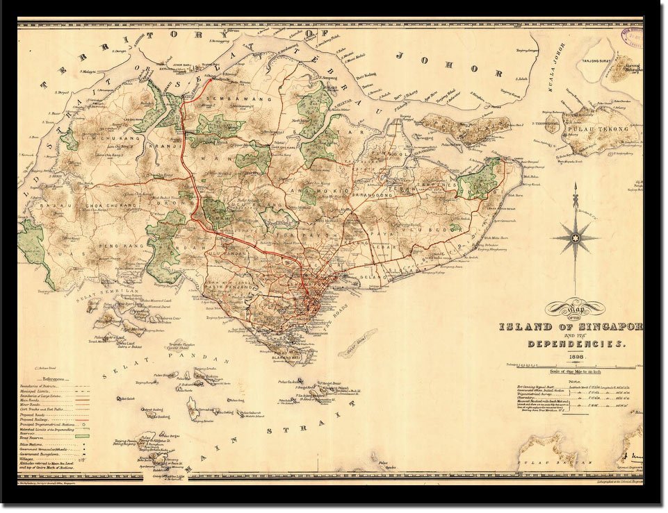 Asia Map Singapore.Vintage Map Singapore Vintage Asia Maps Print From Print