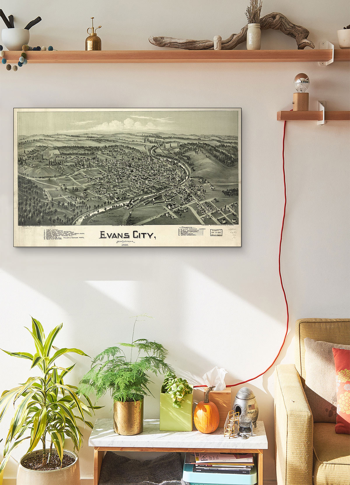 Evans City Pennsylvania 1900 LARGE Vintage Map