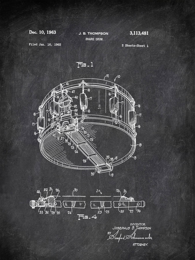 Rogers Snare Drum Music by Patent