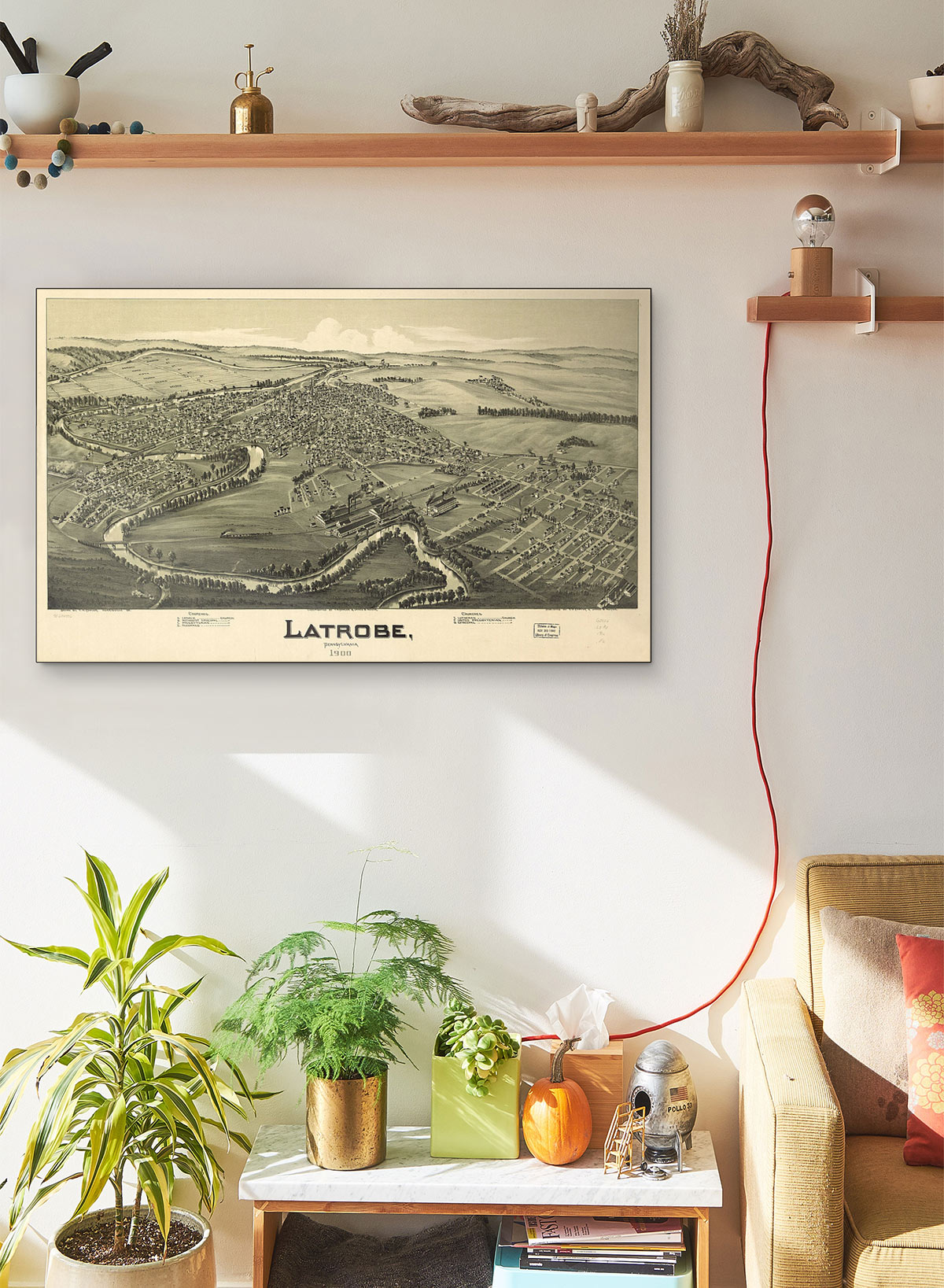 Latrobe Pennsylvania 1900 LARGE Vintage Map