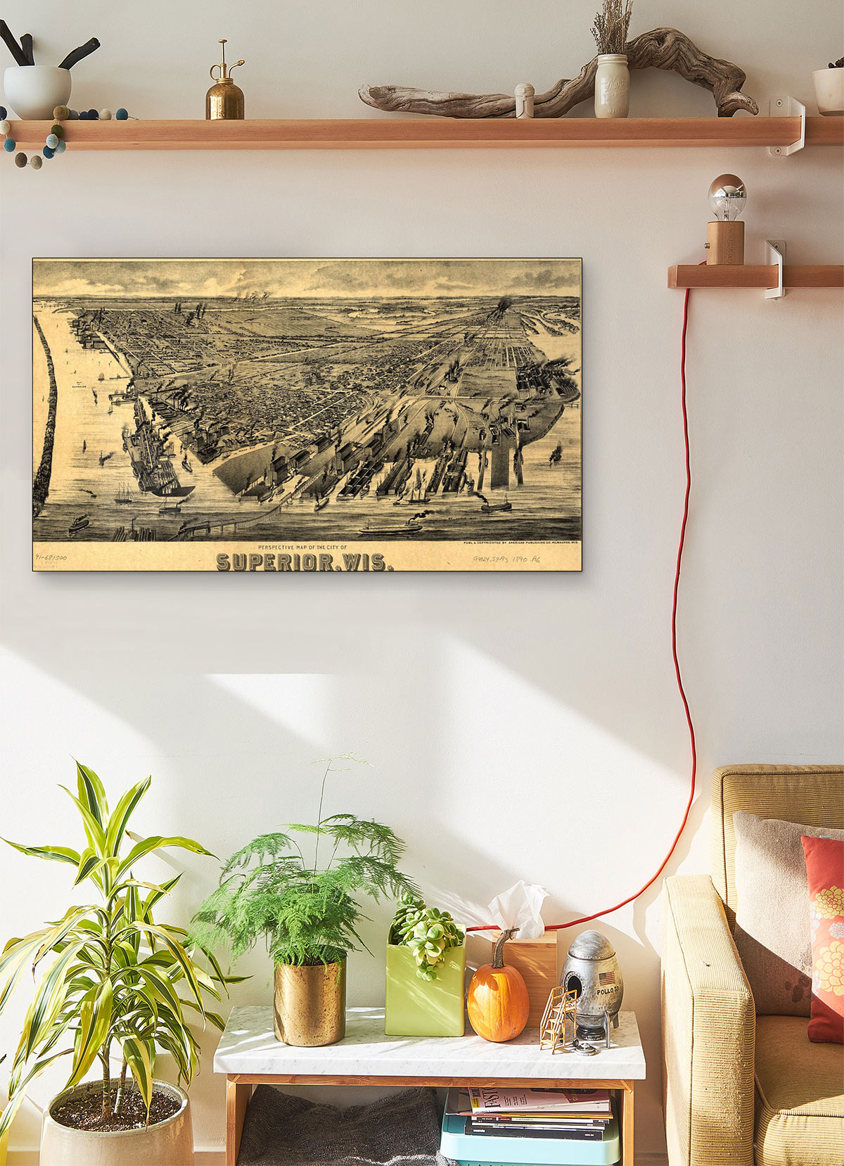 Perspective LARGE Vintage Map Of The City Of Superior Wis LARGE Vintage Map
