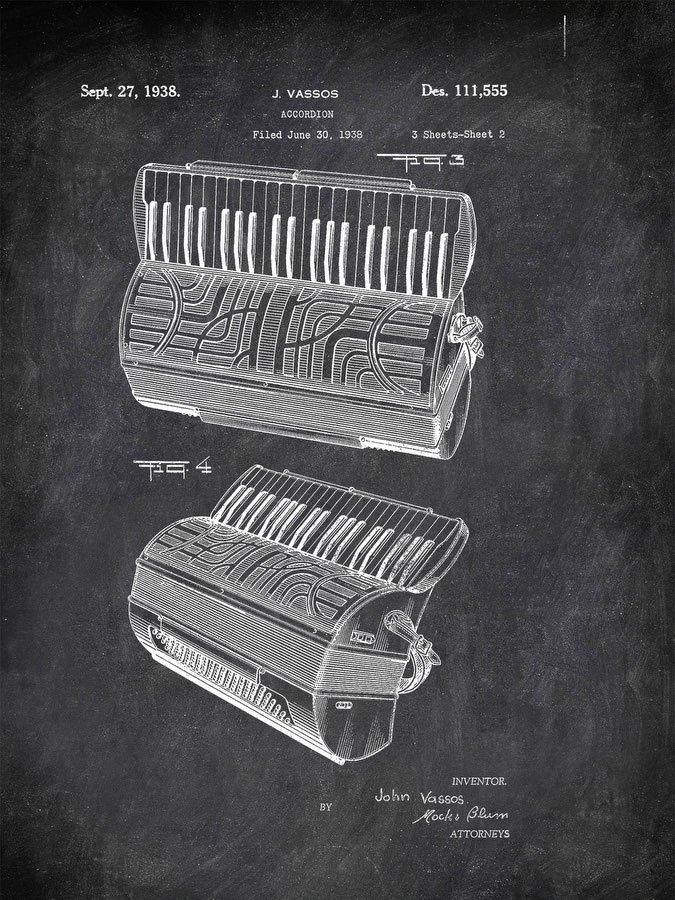 Accordion J Vassos 1938 2 Music by Patent