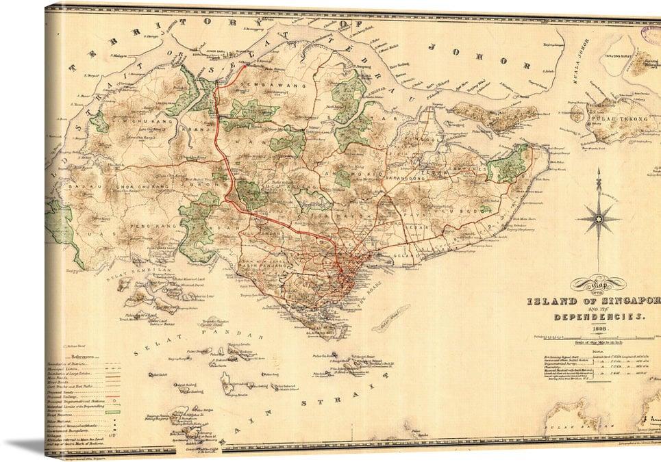 Vintage Map Singapore - Vintage Asia Maps