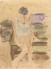 Seated Woman In Blue Underwear William H Johnson