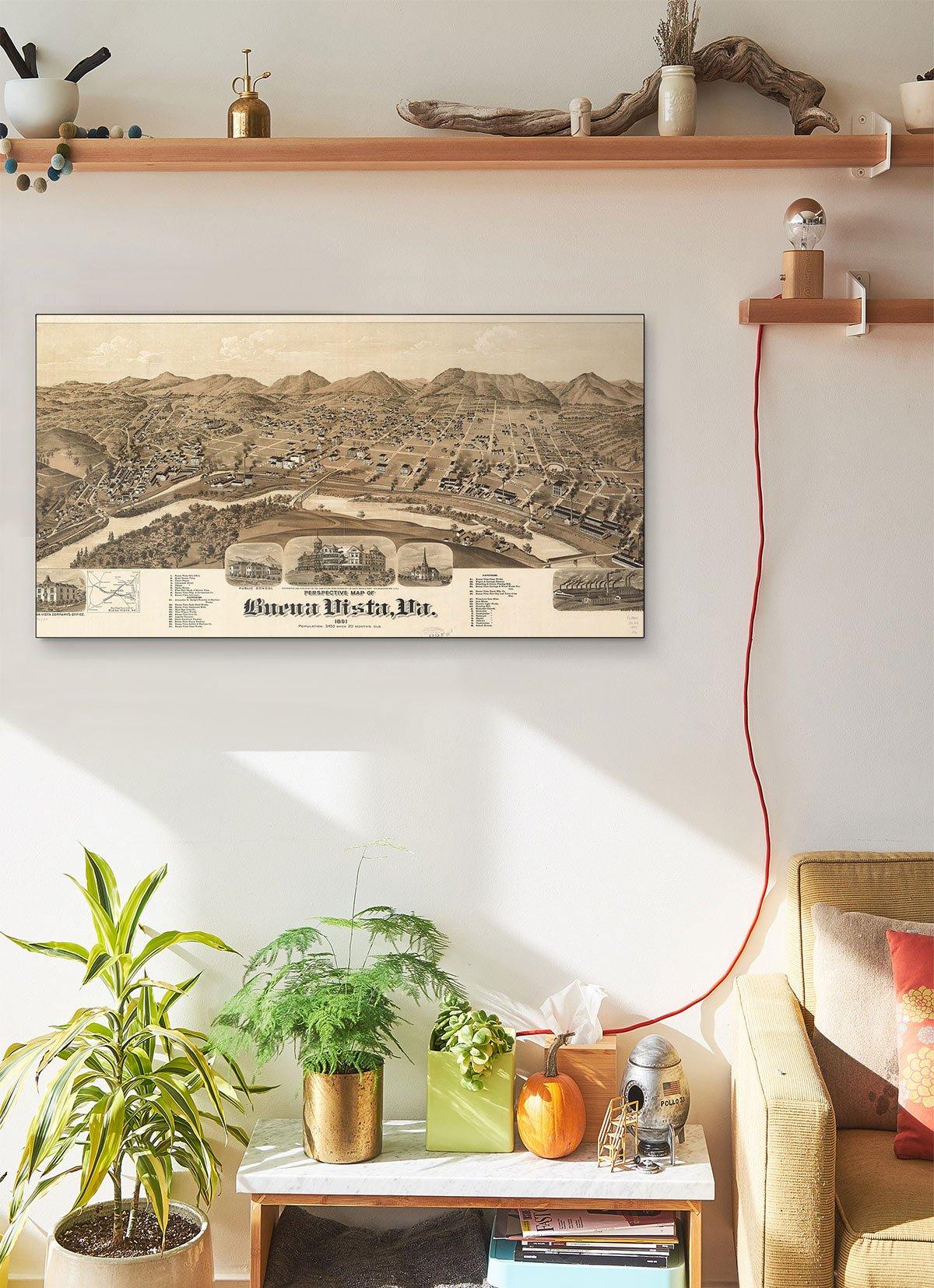 Perspective LARGE Vintage Map Of Buena Vista Va 1891 LARGE Vintage Map