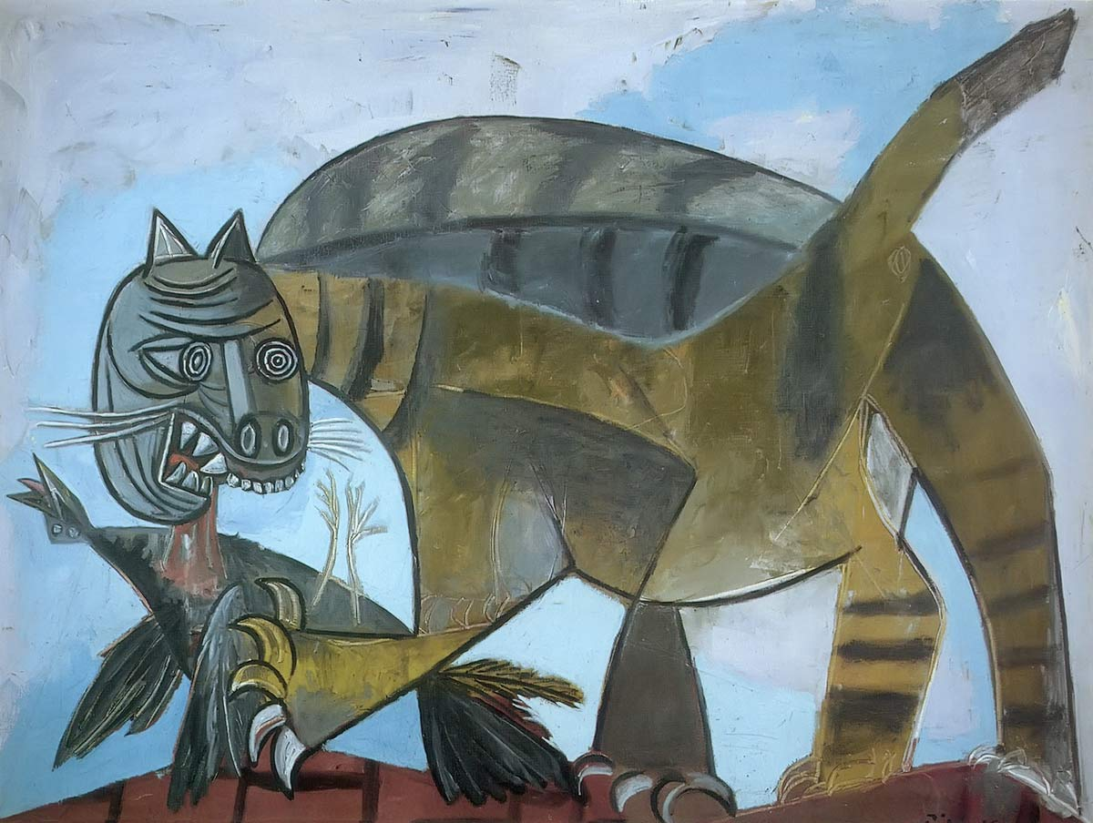 Cat With A Bird Pablo Picasso