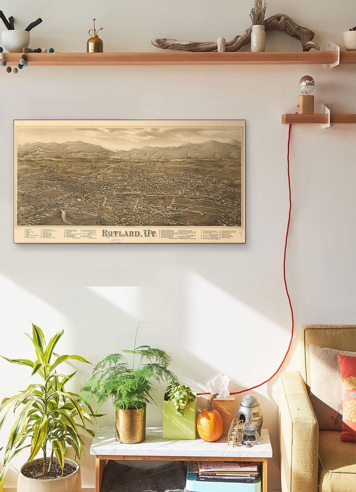 Rutland Vt LARGE Vintage Map