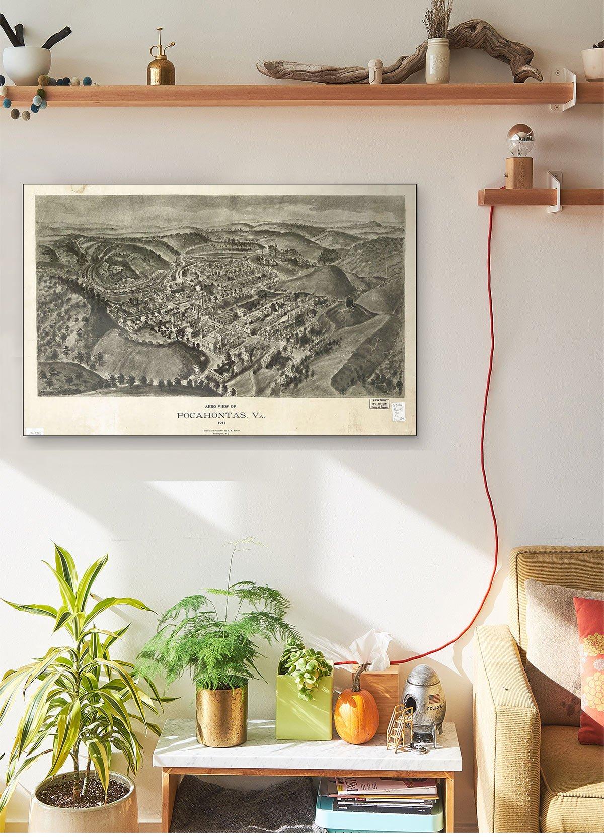 Aero View Of Pocahontas Va 1911 LARGE Vintage Map