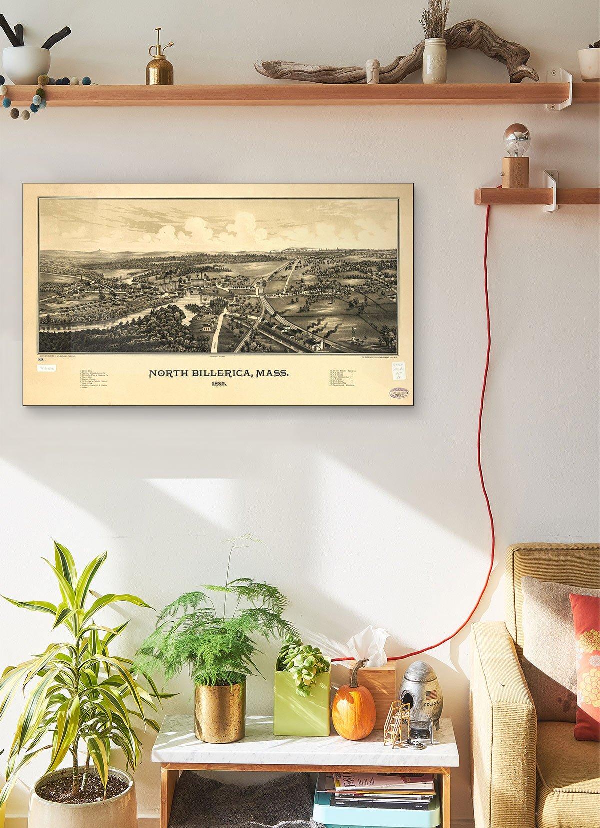 North Billerica Mass 1887 LARGE Vintage Map