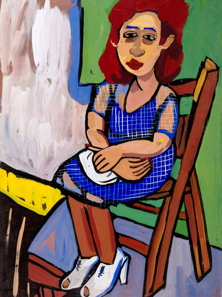 Seated Woman With Red Hair And Blue Dress William H Johnson
