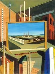 Metaphysical Interior With Large Building by Giorgio De Chirico
