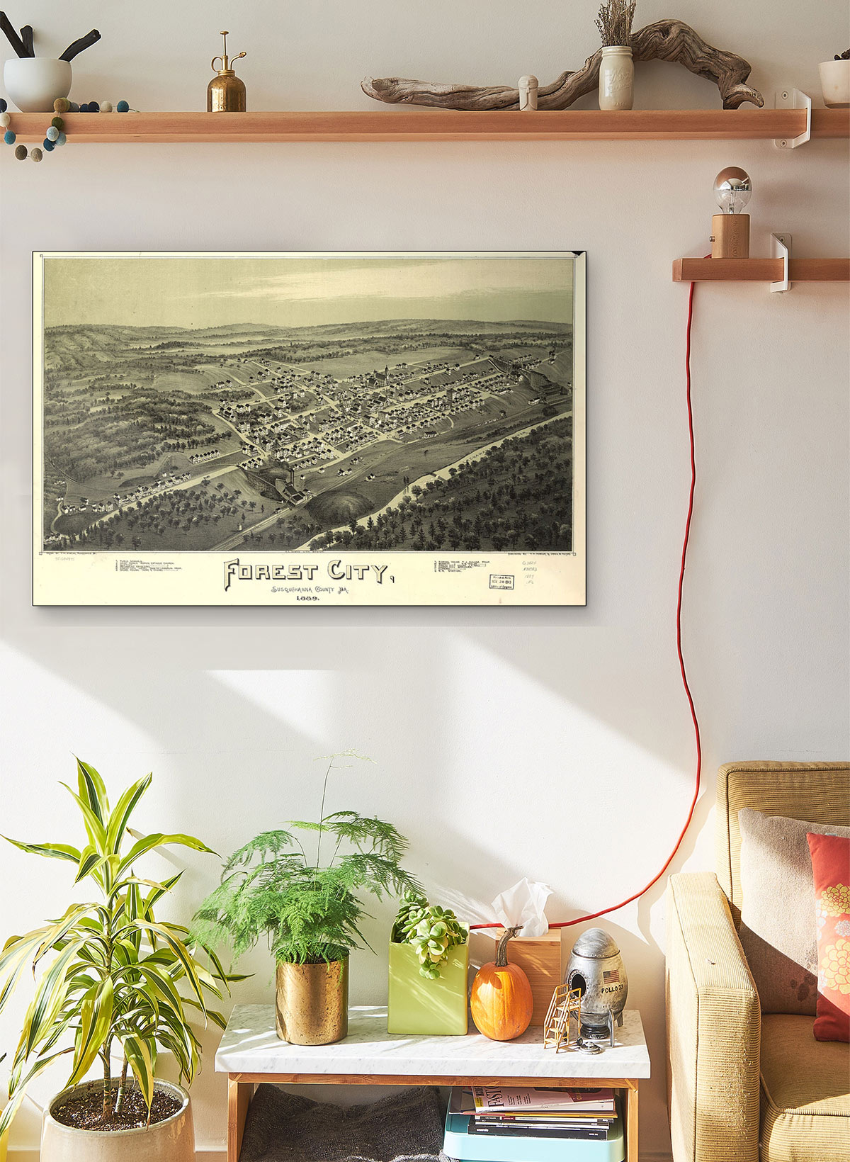 Forest City Susquehanna County Pa 1889 LARGE Vintage Map