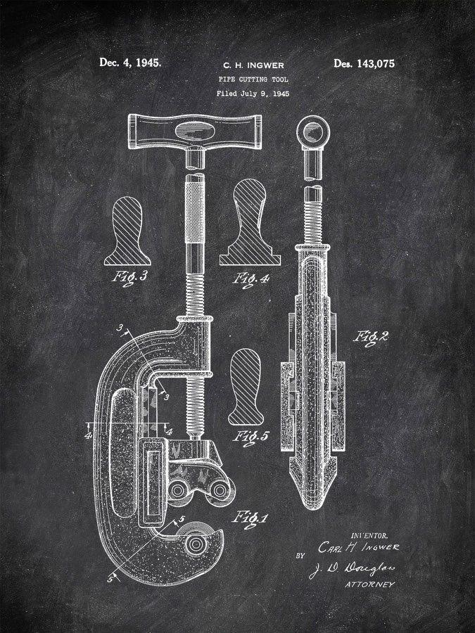 Pipe Cutting Tool C H Ingwer 1945 Tools by Patent