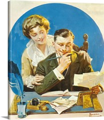 Paying The Bills by Norman Rockwell