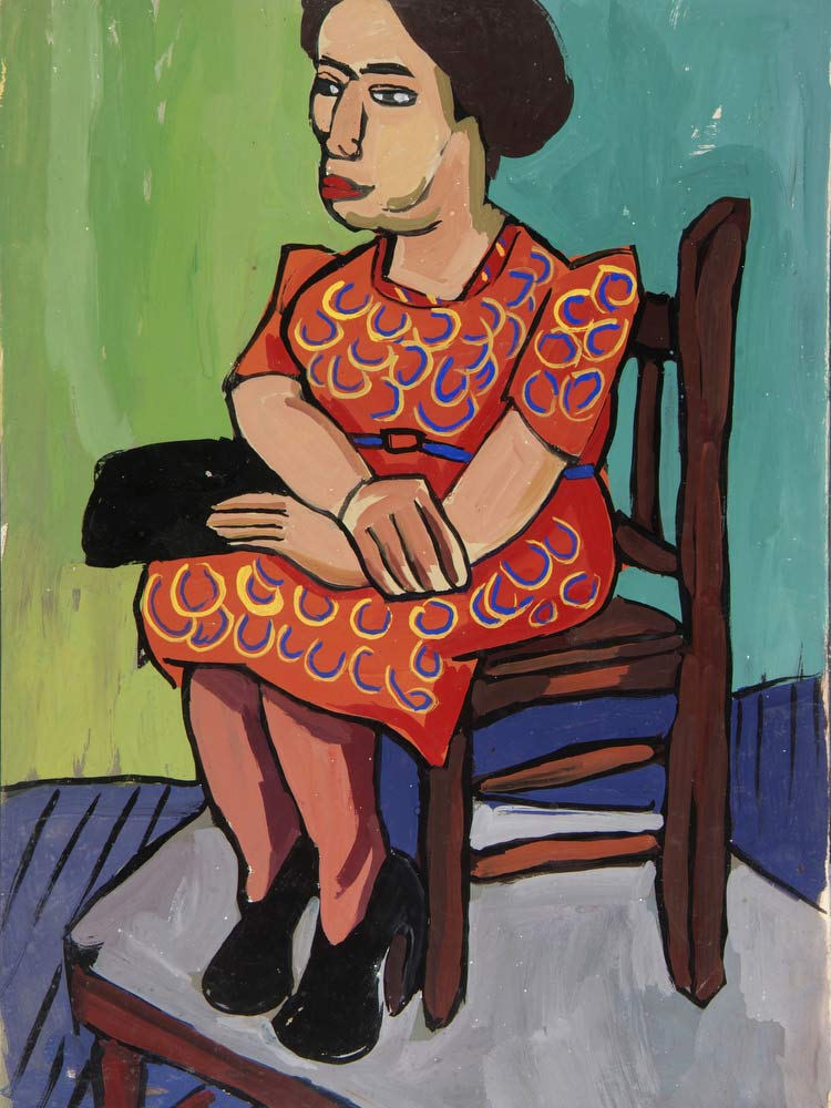 Seated Woman In Orange Print Dress William H Johnson
