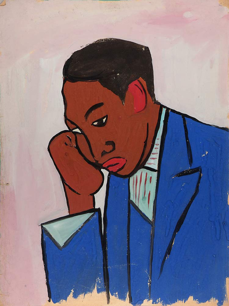 Man In Blue Suit With Head In Hand William H Johnson