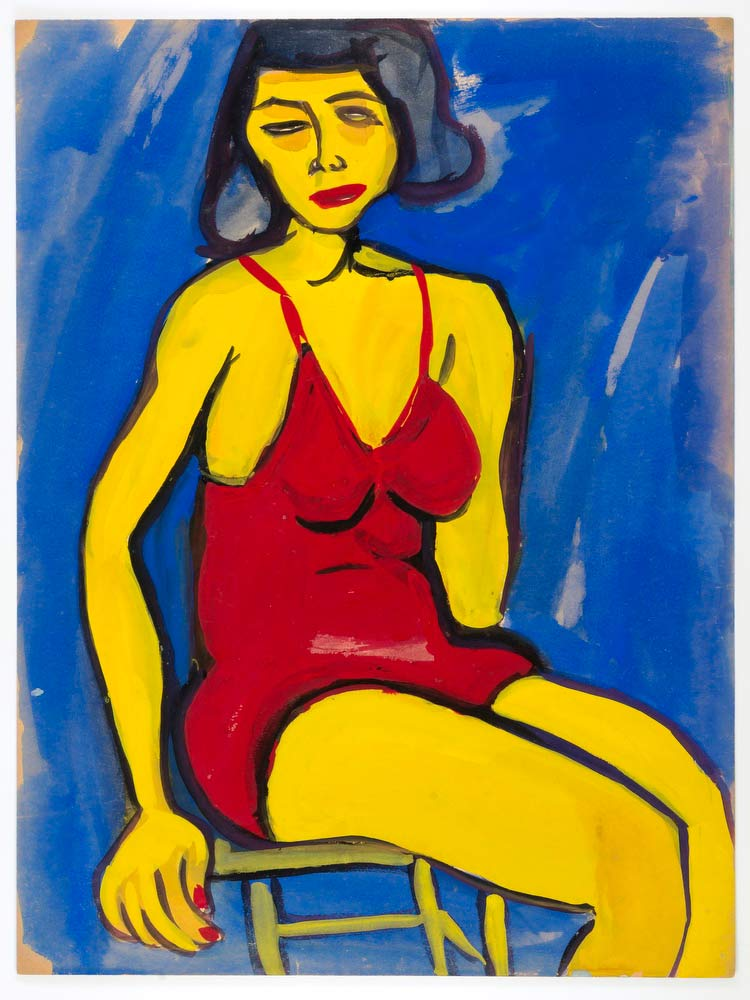 Seated Woman In Red Bathing Suit William H Johnson