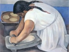 Woman Grinding Maize by Diego Rivera