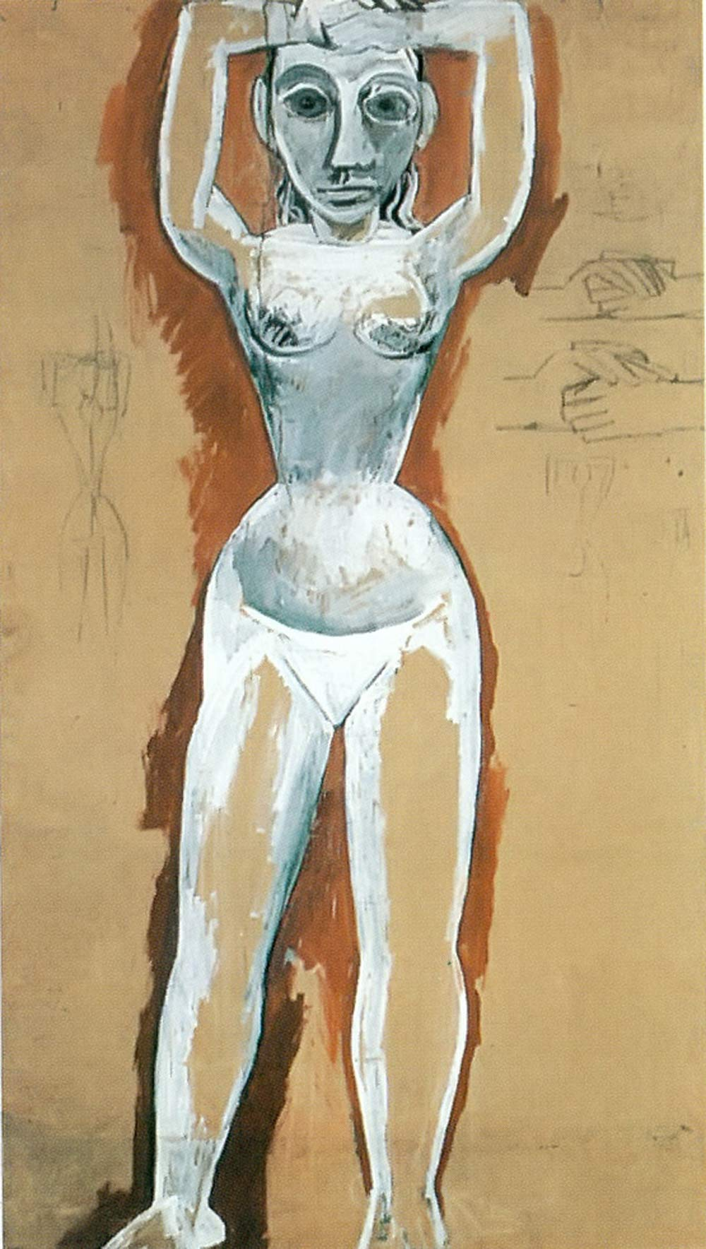 Nude From The Front With Raised Arms Pablo Picasso