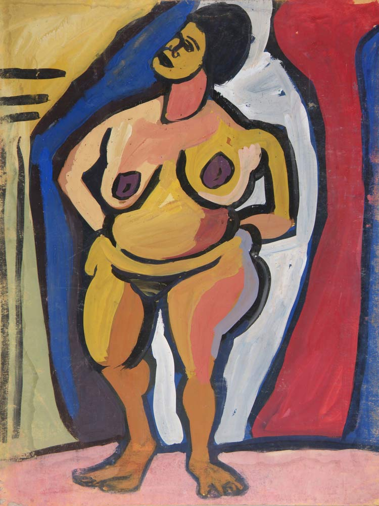Standing Female Nude With Hands On Hips William H Johnson
