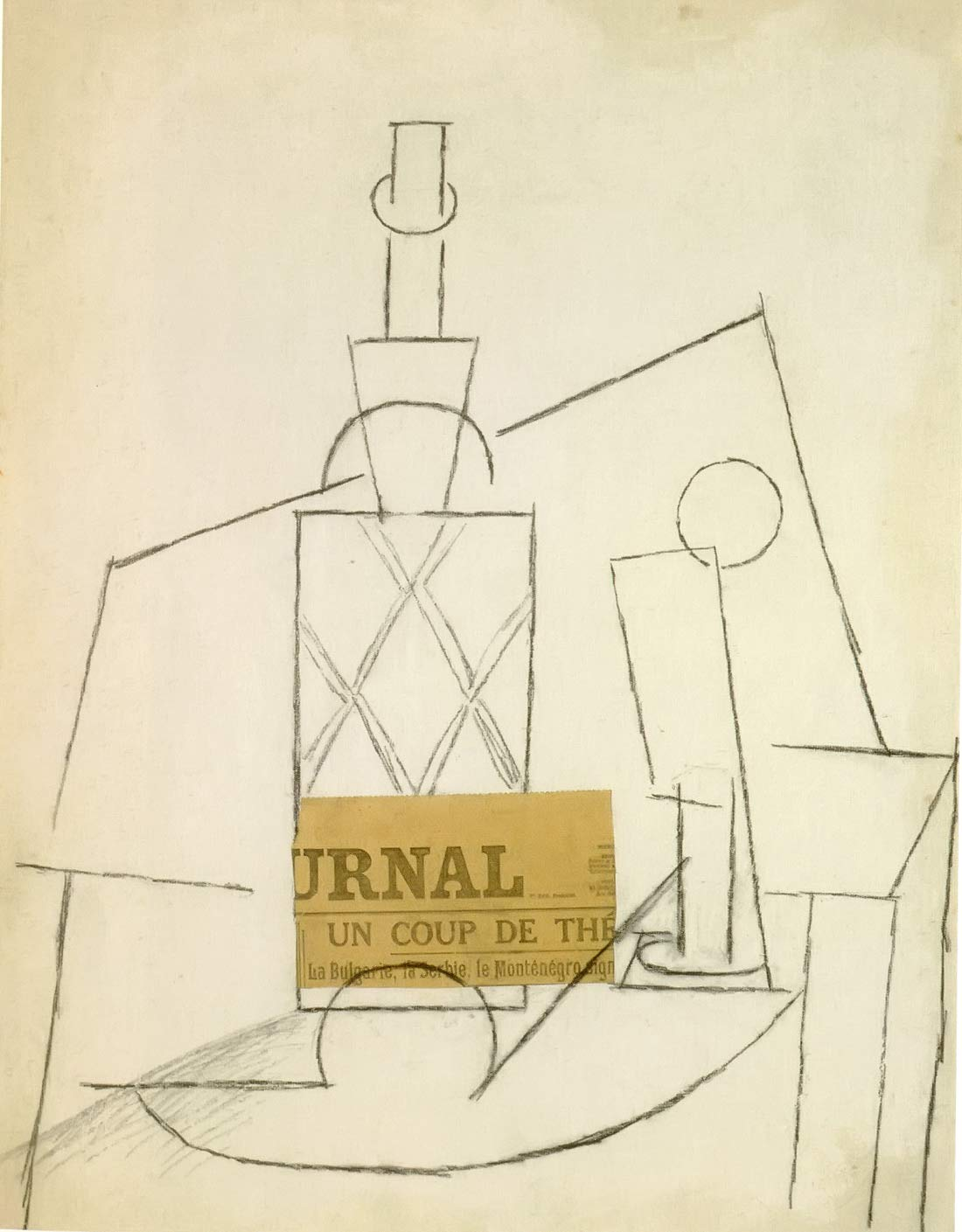 Bottle Glass And Newspaper On A Table Pablo Picasso