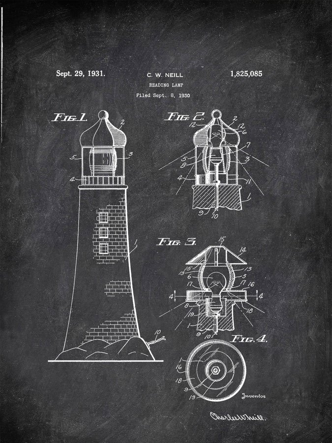 Reading Lamp C W Neill 1930 Activities by Patent